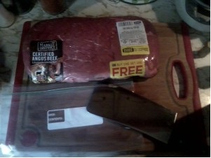 Meat and baggie
