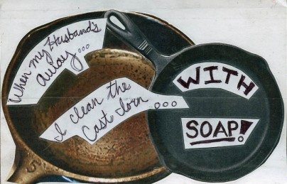 cast iron with soap