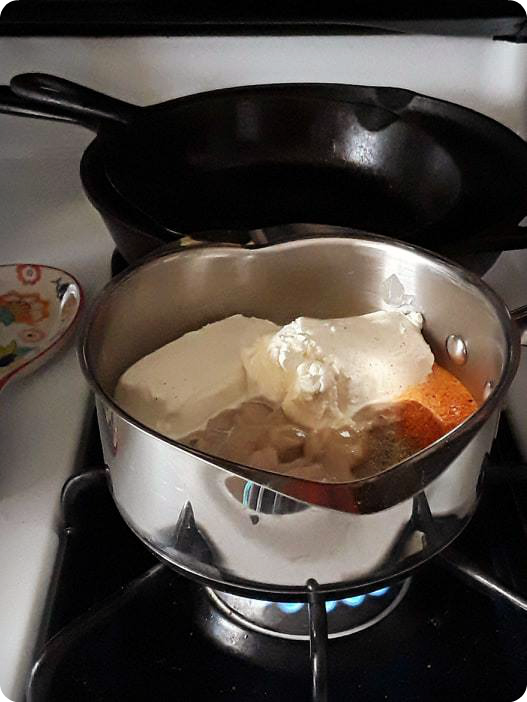 cold sauce ingredients on stove