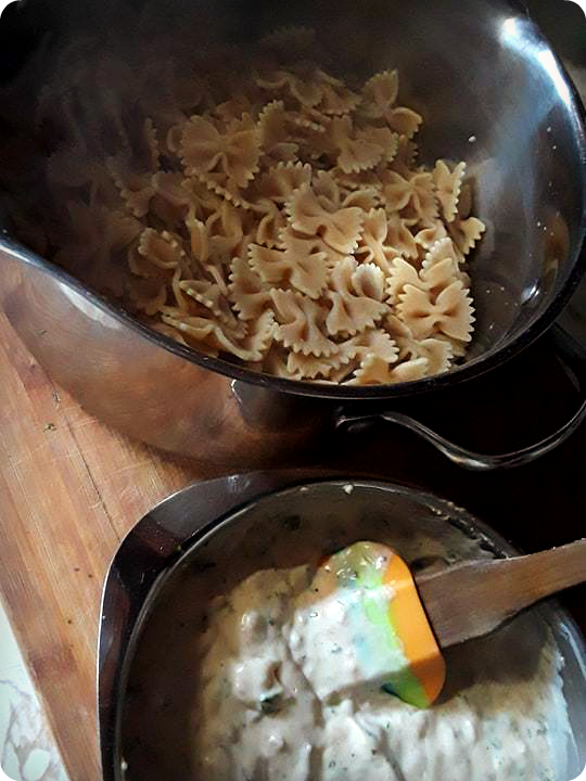 sauce and noodles on counter