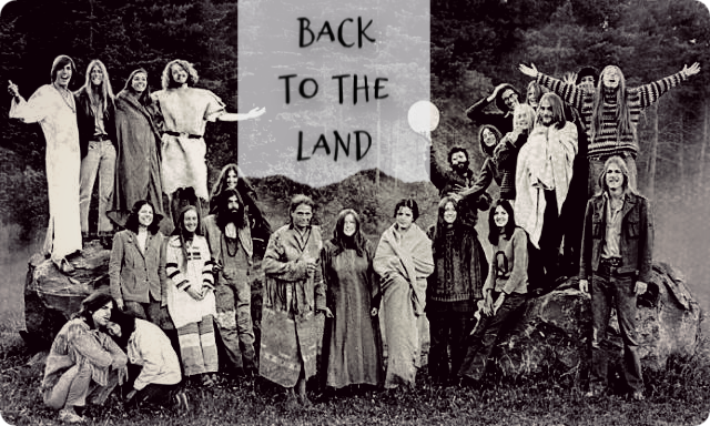 A picture of a Back to the Land commune circa 1977, USA.